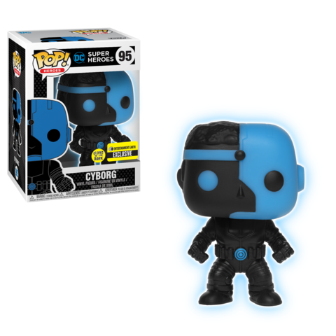Funko Pop! Heroes - DC Super Heroes #95 - Cyborg Silhouette (Glow in the Dark) (Exclusive) - Simply Toys