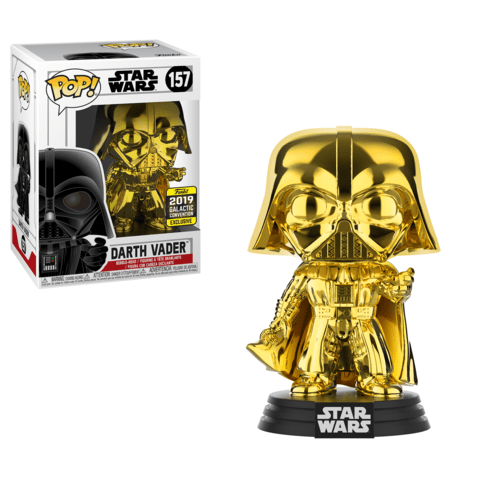 Funko Pop! Movies - Star Wars #157 - Darth Vader (Gold Chrome) (Galactic Convention 2019 Exclusive) - Simply Toys