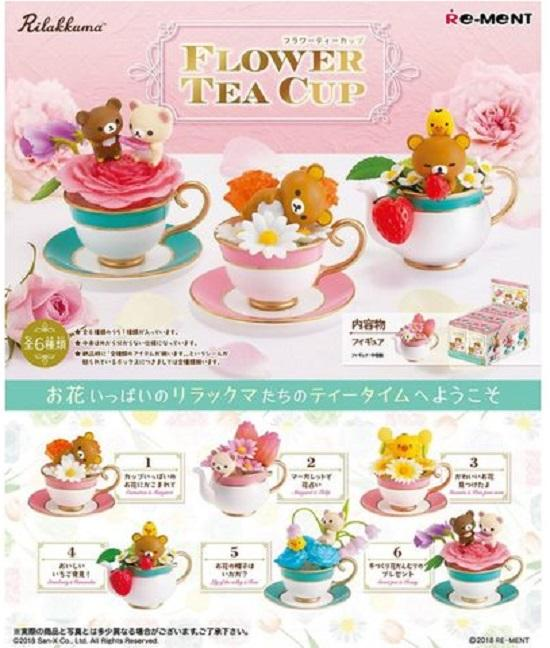 Re-Ment Rilakkuma - Rilakkuma Flower Tea Cup (Set of 6) - Simply Toys