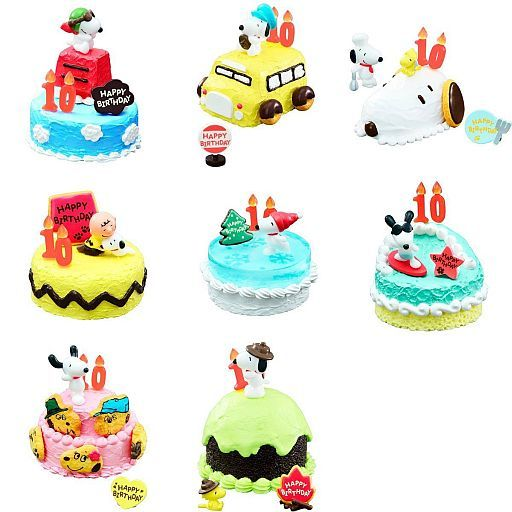 Re-Ment Peanuts - Snoopy Birthday Cake (Set of 8) - Simply Toys