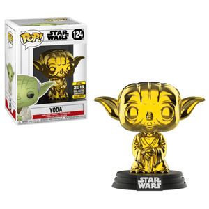 Funko Pop! Movies - Star Wars #124 - Yoda (Gold Chrome) (Galactic Convention 2019 Exclusive) - Simply Toys