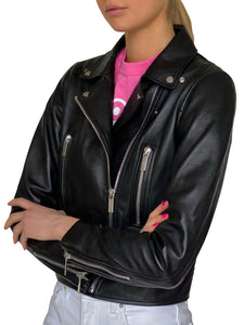 PINK AS FUCK STUDDED LEATHER JACKET