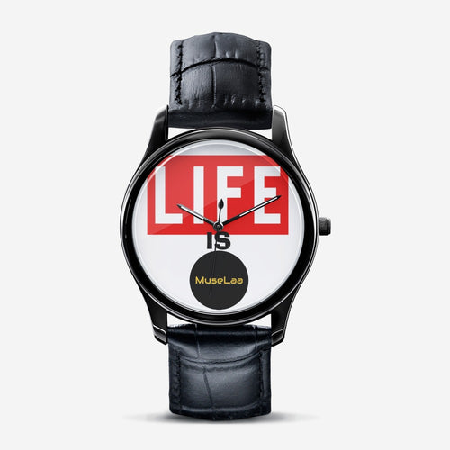 Life Is MuseLaa Classic Fashion Print Black Quartz Watch