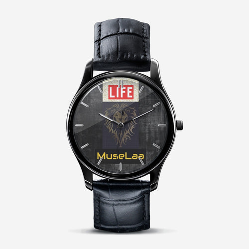 MuseLaa Life Classic Fashion Print Black Quartz Watch