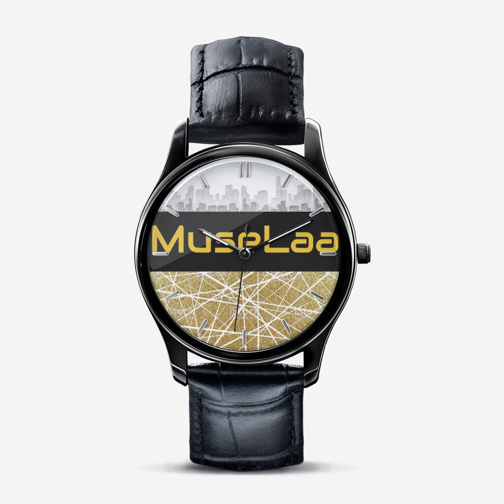 MuseLaa Classic Fashion Print Black Quartz Watch
