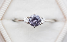 Load image into Gallery viewer, Round lavender three stone engagement ring, 14k gold ring