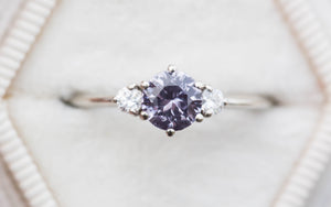 Round lavender three stone engagement ring, 14k gold ring