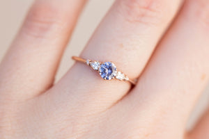 Copy of Round lavender sapphire cluster ring, diamond ring