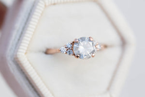 Misty grey diamond cluster ring