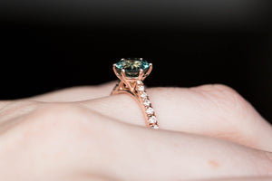 Round teal green sapphire french set pave ring, engagement ring