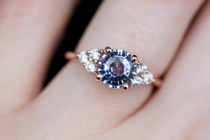 1.8ct Pastel sapphire cluster engagement ring, diamond ring