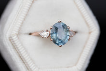 Load image into Gallery viewer, Oval blue green umba sapphire three stone ring, pear side stones