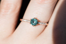 Load image into Gallery viewer, Round montana sapphire diamond pave engagement ring, teal sapphire