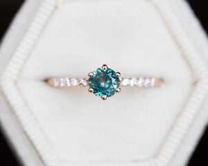 Round montana sapphire diamond pave engagement ring, teal sapphire