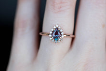 Load image into Gallery viewer, Pear alexandrite halo engagement ring, right hand ring