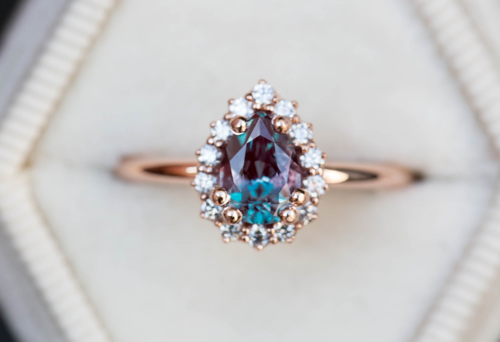 Pear alexandrite halo engagement ring, right hand ring