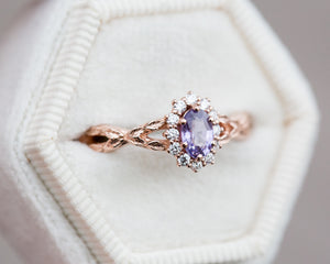 Purple sapphire leaf twist halo ring