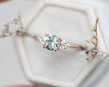 Load image into Gallery viewer, Seafoam round sapphire cluster engagement ring, diamond ring