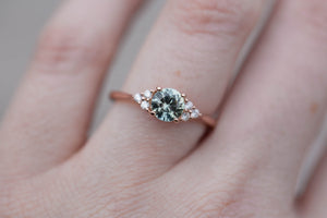 Seafoam round sapphire cluster engagement ring, diamond ring