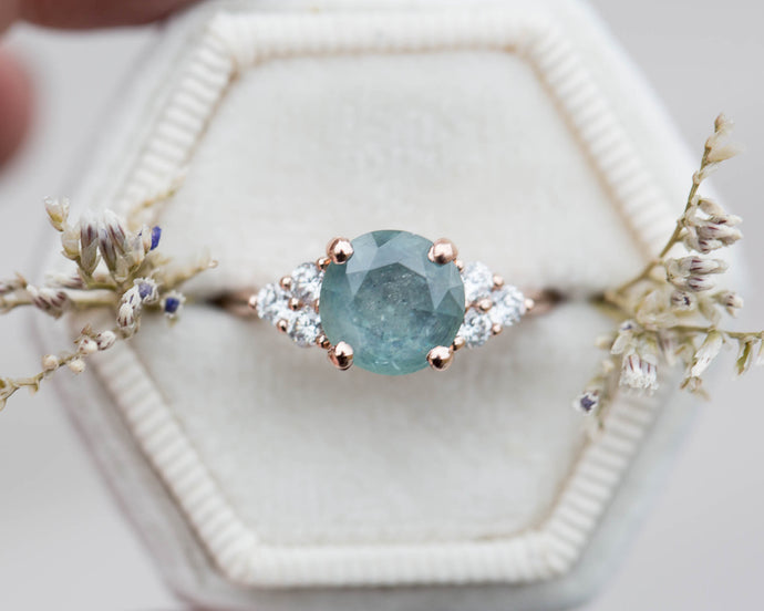 Teal Montana sapphire and diamond cluster ring, diamond ring