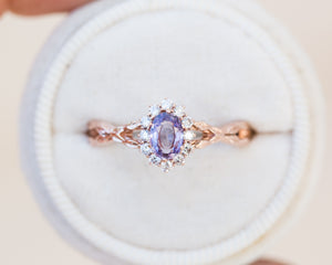 Oval lavender sapphire halo twisted leaf engagement ring