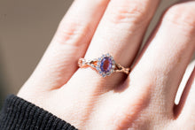 Load image into Gallery viewer, Oval lavender sapphire halo twisted leaf engagement ring