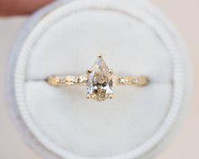 Load image into Gallery viewer, Pear champagne diamond leaf engagement ring