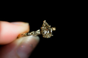 Pear champagne diamond leaf engagement ring