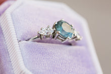 Load image into Gallery viewer, Montana sapphire three stone, pear side stones, engagement ring