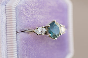 Montana sapphire three stone, pear side stones, engagement ring