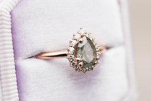 Load image into Gallery viewer, Grey diamond halo engagement ring