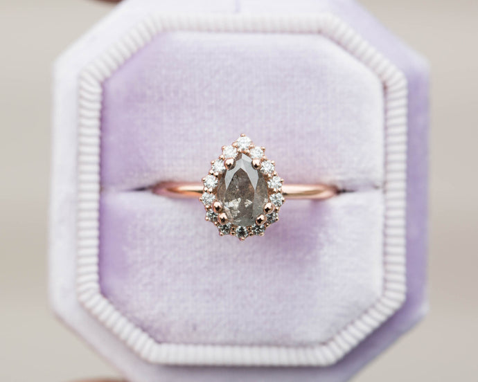 Grey diamond halo engagement ring