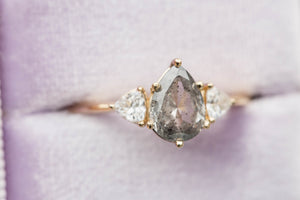 Grey diamond three stone ring, trillion