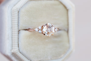 Peach sapphire hexagon cluster engagement ring, right hand ring