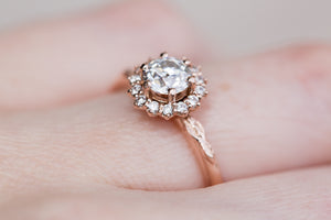 OEC moissanite halo leaf engagement ring
