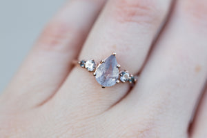 Pale pink pear umba sapphire five stone ring, romantic engagement ring