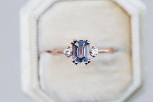 Load image into Gallery viewer, Emerald cut purple ceylon sapphire three stone ring