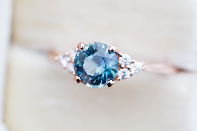 Round teal sapphire engagement ring, cluster diamond ring, 6mm