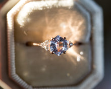 Load image into Gallery viewer, Icy blue hexagon sapphire ring, diamond cluster ring