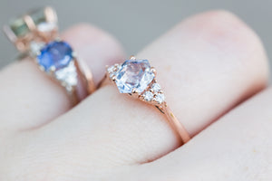 Icy blue hexagon sapphire ring, diamond cluster ring