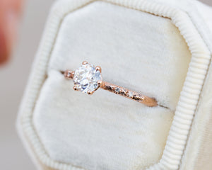 Ethereal solitaire moissanite engagement ring