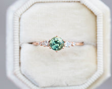 Load image into Gallery viewer, Round green sapphire and diamond cluster five stone ring