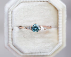 Montana sapphire diamond five stone ring, unique engagement ring
