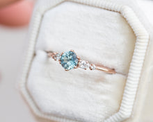 Load image into Gallery viewer, Montana sapphire diamond five stone ring, unique engagement ring