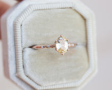 Load image into Gallery viewer, Butter yellow oval sapphire floral engagement ring