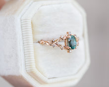 Load image into Gallery viewer, Briar rose setting with teal Montana sapphire