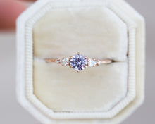 Load image into Gallery viewer, Lavender sapphire five stone diamond ring