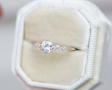 Load image into Gallery viewer, Moissanite and marquise diamond five stone engagement ring