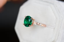 Load image into Gallery viewer, Oval lab emerald leaf engagement ring