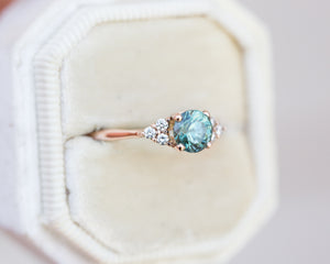 1.06ct teal sapphire cluster ring, unique engagement ring